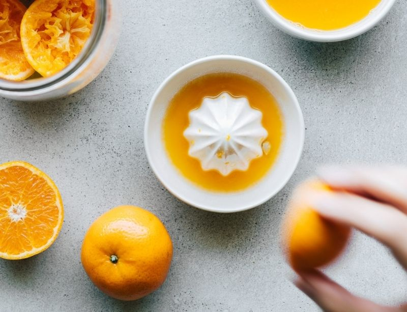 Clementine juice and peels