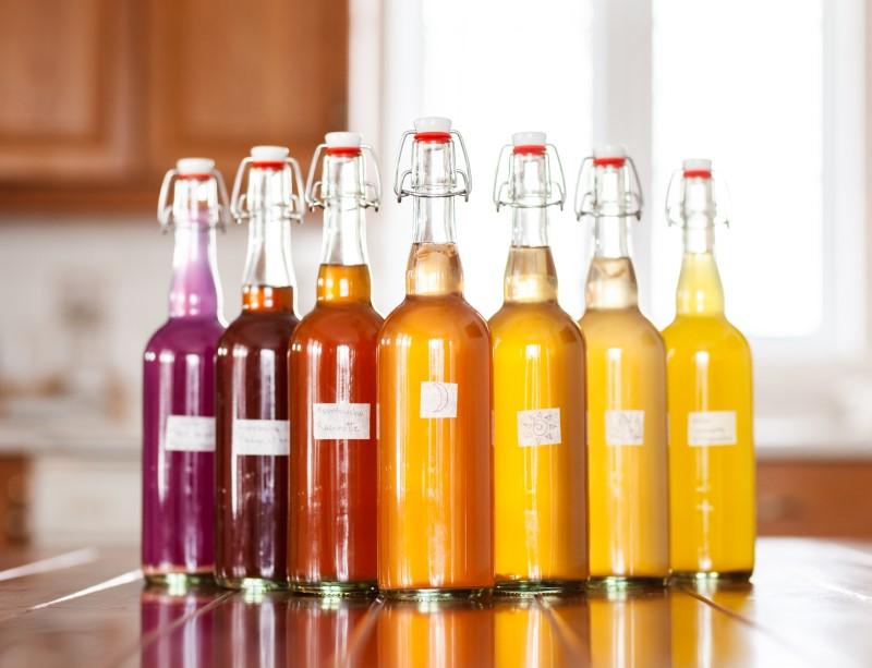 bouteilles de kombucha aromatisé